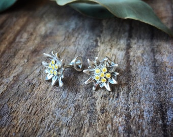 Sterling silver Edelweiss stud earrings with yellow cubic zirconia