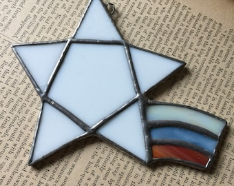 Shooting Star Red White and Blue Stained Glass Suncatcher