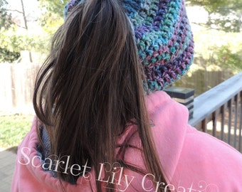 Messy Bun Hat, Ponytail Hat, Cowl Hat READY TO SHIP
