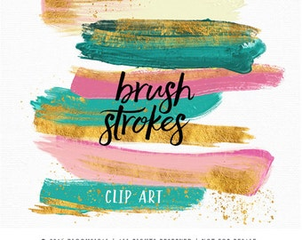 Gold Foil Brush Strokes Clip Art | Hand Painted Emerald Pink Gold confetti Acrylic Paint Graphic Elements | Digital Design Resource