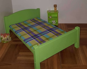 Lime green Queen size doll bed with foam mattress/ 1:6 scale bed / playscale bed/ barbie size  bed/ 1/6 scale furniture/ lime green bed