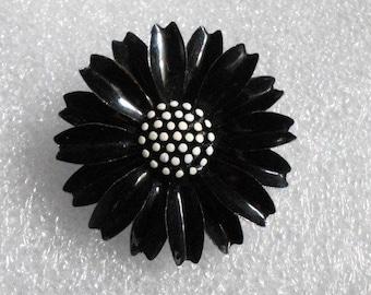 Vintage BLACK Enamel Flower Pin~signed TRIFARI~Lots of Detail