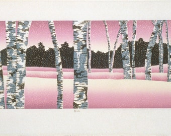 "Winter Stillness  7' x 20""  woodcut"