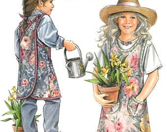 Daisy Kingdom Child/Girl Wrap-Around Apron with Criss-Cross Back, Pockets, 1997 OOP Simplicity 7856 Sewing Pattern, Sizes S-M-L (4-14) UNCUT