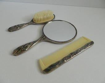 Vintage 1970s Vanity Silver Plated Brush Comb & Mirror Set Iris Pattern