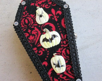 Red and Black Coffin with Lace style lid and Pumpkin embellishments jewelry / trinket box from KaztielKrafts