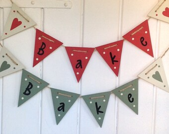 Bake Wooden Bunting, wooden bunting, flag bunting, hand painted, kitchen, cooking decor, baking decor