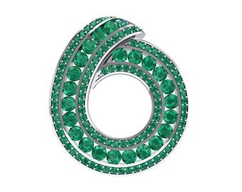 Painted Circle Emerald Pendant, Circle Pendant, Emerald Pendant, Emerald Jewelry, Gift For Her, Gift, Jewelry