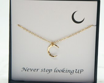 Moon Necklace Graduation Gift Inspirational Necklace Gift for Her Mother Daughter Travel Love Gold Necklace Moon Jewelry Sister Gift