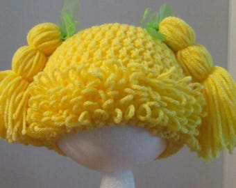 Crochet Cabbage Patch Hat ~ Size XSM ~ Yellow with green ribbons