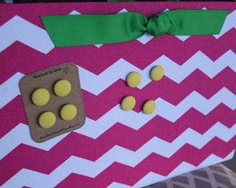 """Magnetic Board (18"""" x 12"""") Fabric covered magnet board - Hot Pink chevron, Lime green, yellow, Memo Board, Bulletin board, Playroom, Kids"""