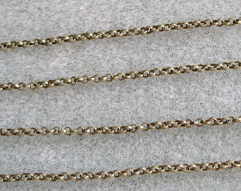 Antique Bronze Round Rolo Chain 2mm Nickel Lead Free 371-AB