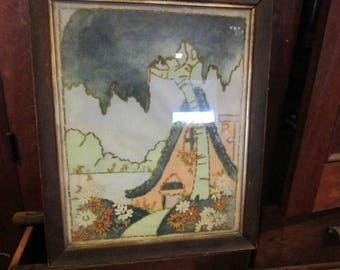 vintage unusual needlework picture framed wood backing early piece