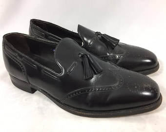 Mens Floresheim Black Leather Wing Tip Dress Shoes 9.5