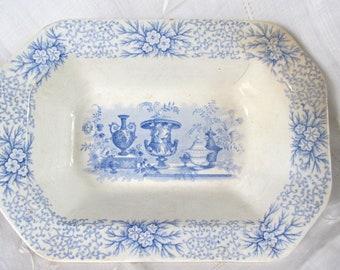 Antique 1840's Transferware Vegetable Bowl Blue And White Staffordshire ,Antique Vases, Joseph Clementson