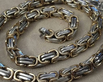 Stainless BIKER Chain, Gentleman's Biker Chain, Byzantine, High Quality, Durable, Gold and Silver Stainless Chain Link Necklace