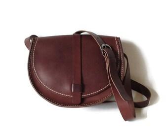 Leather shoulder bag, Half moon bag, vegetable tanned leather bag, Bordeaux handbag, Mother's Day gift, sister gift