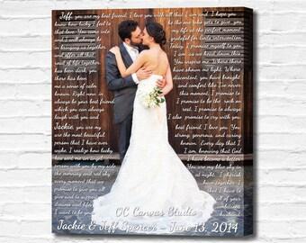 First dance lyrics. Photo with Lyrics, Vows, Love Story. Custom Canvas Print Art. Anniversary/Wedding gift. Text with photo canvas print