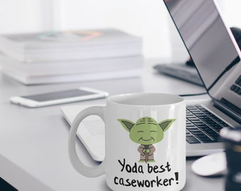 Caseworker Mug - Caseworker Gifts - Funny Caseworker Mug - Yoda Best Caseworker Gifts - Star Wars Mug - Yoda Best Caseworker Pun Mug
