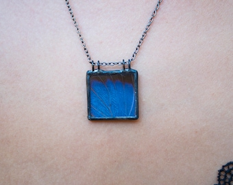 Reversible Blue and Brown Butterfly Wing Necklace