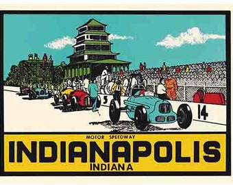 Vintage Style Indiana Indianapolis Speedway Travel Decal sticker