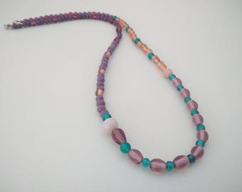 Purple, peach & green long beaded necklace, gifts for her, gift ideas, jewellery gifts, necklaces, beaded boho style long necklace, gifts