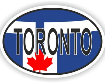 Toronto Country Code Oval Sticker with Flag for Bumper Laptop Book Fridge Helmet ToolBox Door PC Hard Hat Tool Box Locker Truck