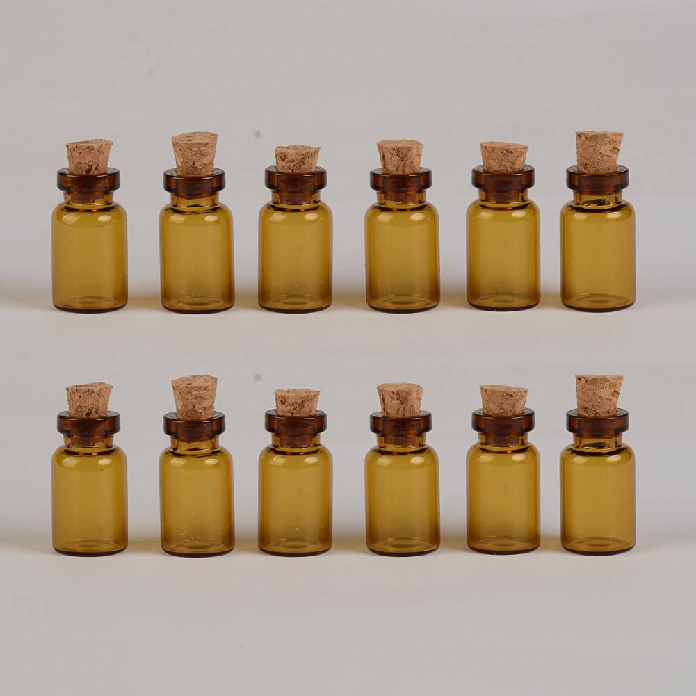 100er 13x24x6mm 1ml mini amber glas flaschen mit korken leer. Black Bedroom Furniture Sets. Home Design Ideas