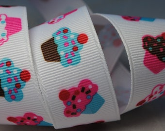 Cupcakes Print Grosgrain Ribbon -  3 yards, 7/8 inch wide