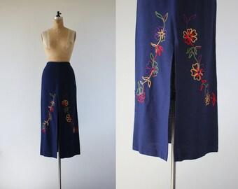 vintage 1960s skirt / 60s maxi skirt / 60s rainbow floral embroidered skirt / 60s navy blue maxi skirt / groovy 60s full length skirt / 26 w