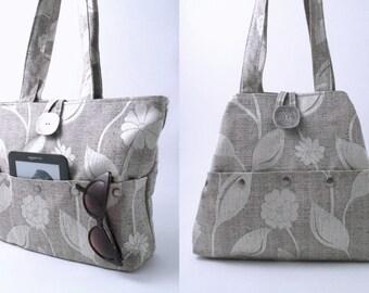 grey handbag, shoulder bag, ,fabric purse, bag with pockets, tote bag ,floral handbag, grey purse