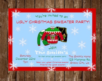 Ugly Christmas Sweater Party Invitation
