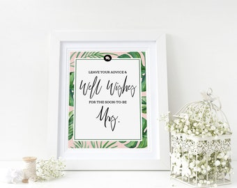 """Well Wishes Sign for Bridal Shower- 5"""" x 7"""" - Tropical Theme - Instant Printable Download"""