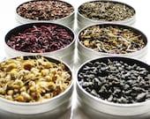 Organic Herbal Tea Kit - 6 herbal loose teas in 61mm tins - DIY tea kit - gift for the tea enthusiast / birthday / hostess gift