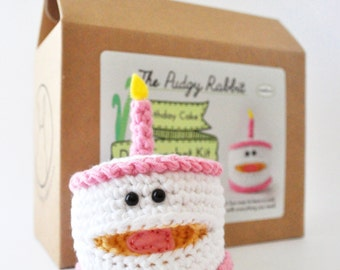 Cake Crochet Kit, Birthday Craft, DIY Crochet