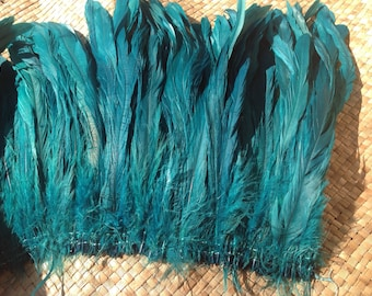 """Dyed SEA GREEN Rooster Tail Feathers.. 3"""" Pack  Of 8"""" - 10"""" in Length. Perfect For Making Headpiece And Costumes!!"""