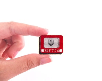Etch a Sketch cross stitch collar pin, one of a kind, gifts under 50, gifts for toy collectors