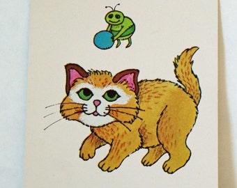 Vintage Flash Card CAT Green Bug Nursery Art Decor Paper Ephemera Bright Colors 1977 Milton Bradley