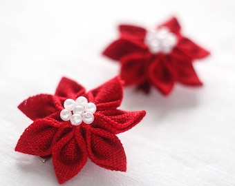 Christmas hair clips - Red Hair clips - Red Flower girl hair clips - Toddler hair accessories - Christmas gift for girl