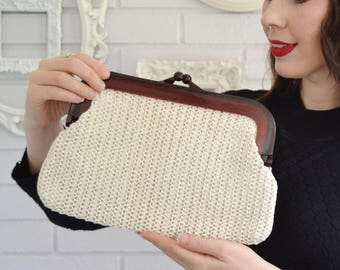 Vintage 1960s Clutch with Cream Woven Raffia and Acrylic Frame Made in Hong Kong