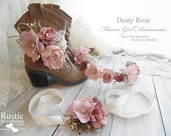 Dusty Rose Peony Sola Flower~ Flower Girl Wedding Accessories ~ Boot Band ~ Flower Crown ~ Wrist Corsage.