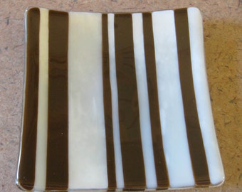 Brown, Cream Striped Jewelry Plate, Soap Dish, Candle Holder, Home Decor Plate, Earthtone, Ready to Ship, Fused Glass Art - Sable Ridge -285