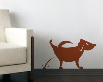Vinyl Wall decal wall Sticker animal Decal - Dog Pissing - 014