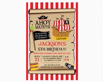 Pirate Treasure Birthday Party Invitation, Pirate Invitation, Pirate Party, Boy Pirate, Printable Invitation, Printed Invitations