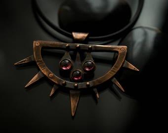 Copper & garnet spiked pendant