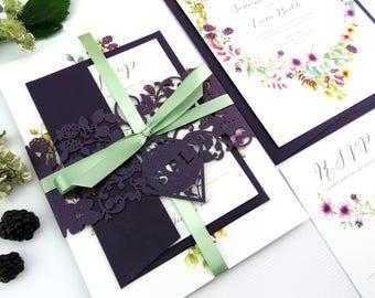Rustic Wedding invitation band, Laser cut Wedding stationery suite-  Blackberry Watercolour invite, Country garden invite, Summer wedding