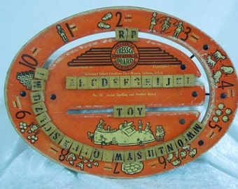 SALE! 20% OFF.  Vintage Cressco Educational Board. 1940. Reversible Wood Spelling and Number Board.