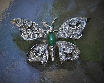 """Vintage Mid Century """"Capri"""" Art Nouveau Art Deco Silver Tone Open Work Faux Diamond & Jade Rhinestone Butterfly Brooch"""