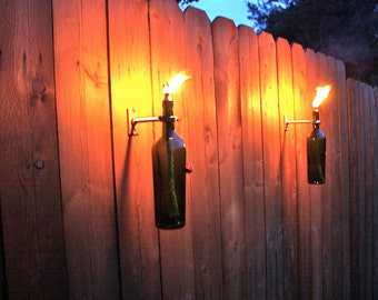 3 Green Wine Bottle Tiki Torches   Outdoor Christmas Lighting  Christmas  Gift For Men