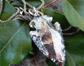 Sterling silver arrow head necklace | solid sterling silver arrowhead | Southwestern pendant | Cast arrowhead pendant